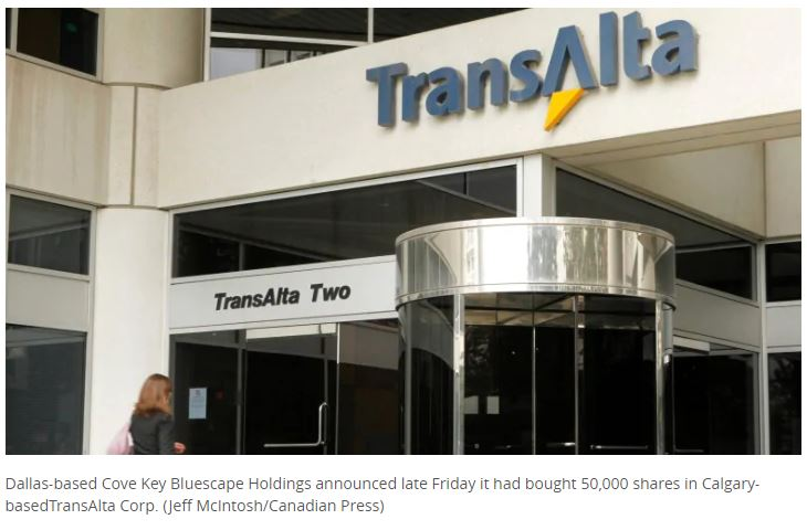 TransAlta stock rises after U.S. activist investor group demands change