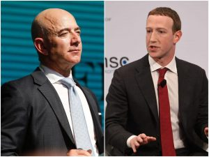 Mark Zuckerberg and Jeff Bezos got $14 billion richer in a single day as Facebook and Amazon shrugged off the coronavirus recession